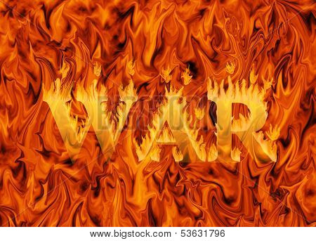 Word war engulfed in flames on infernal background - concept of destruction and danger of war
