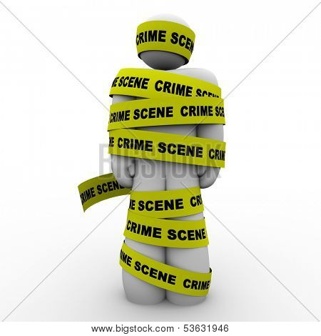 Crime Scene Yellow Tape Wrapped Around Criminal Suspect