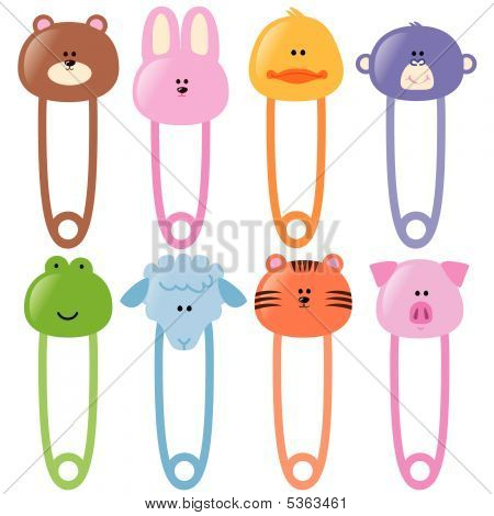 baby animamls safety pins set 1 vector poster id 5363461
