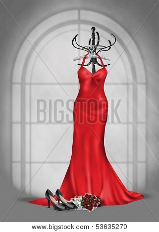red gown on coat rack