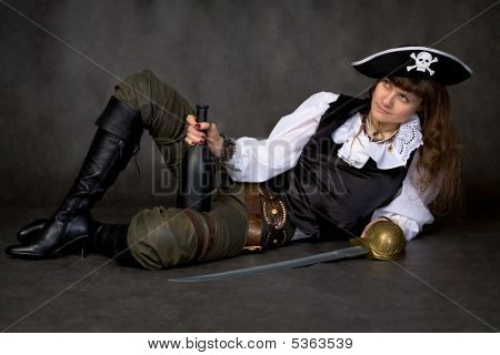 Girl - Pirate With Sabre And Bottle