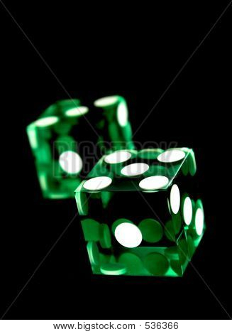 Green Dices On Black