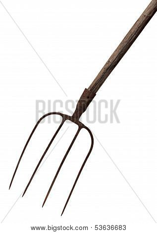 Old rusty fork isolated on a white background.