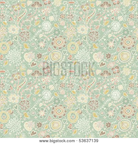 Great floral seamless pattern for textile. Birds in flowers - spring concept background. Seamless pattern can be used for wallpapers, pattern fills, web page backgrounds, surface textures