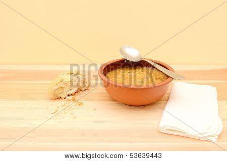 Spoon Resting On A Bowl Of Vegetable Soup