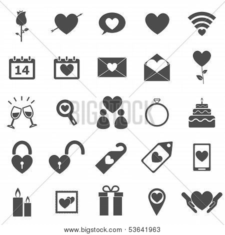 Valentine's Day Icons On White Background