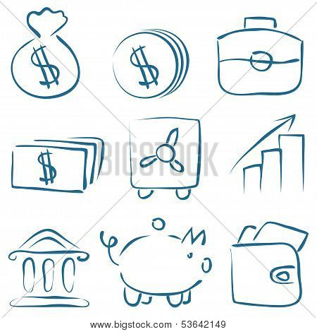Vector Sketch Money Icons