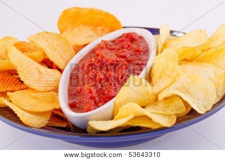 Potato Chips And Red Sauce
