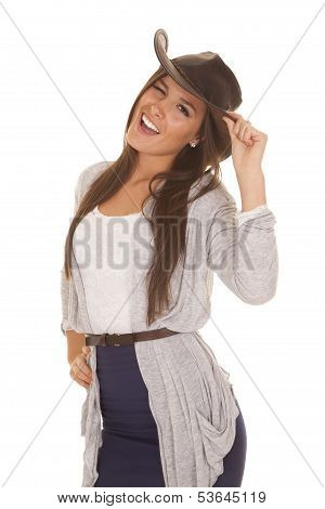 Woman Gray And Blue Western Hat Wink