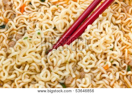 Eating Instant Noodles By Red Chopsticks