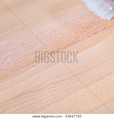 Clear Varnish On Surface Of Beech Worktop