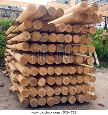 Wood Poles. Stack