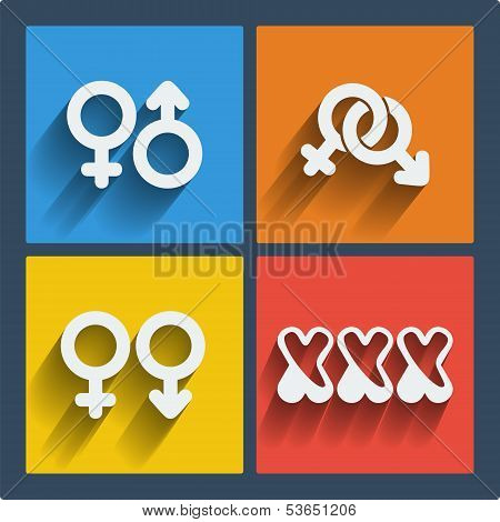 Set of 4 vector web and mobile gender icons in flat design.