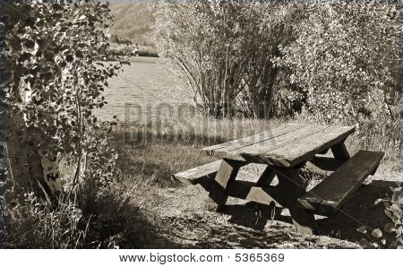 Picnic Table Near Lake