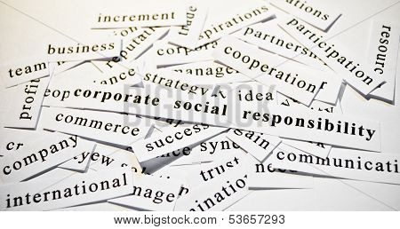 Csr. Concept Of Cutout Words Related With Business.