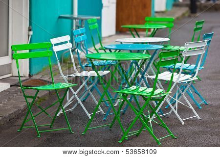 Bright Multicolor Cafe Tables And Chairs