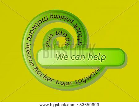 Green Spiral Label With We Can Help
