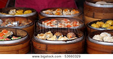 Bamboo Steamers With Dim Sum Dishes