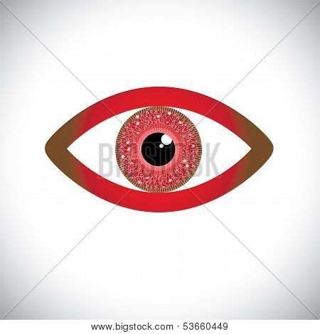 Abstract Red Color Human Eye Sign With Circuit In Iris