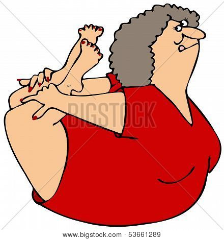 Woman rocking on her belly