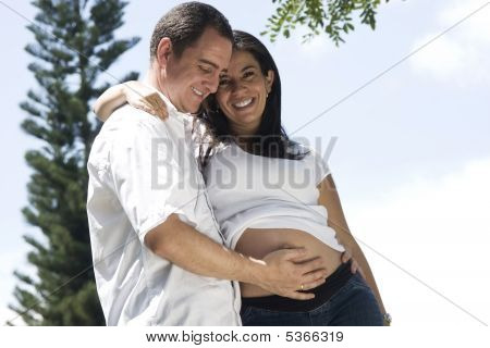 Beautiful Pregnant Woman And Her Man