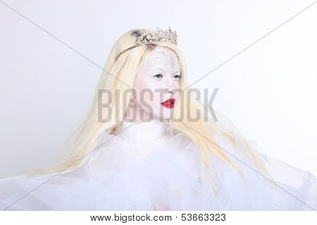 Creative Concept of a Woman in Elaborate Make up and Hair