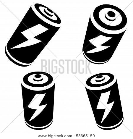 Vector Battery Silhouette On White Background