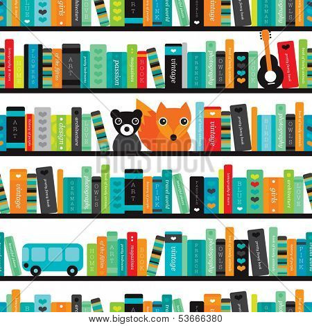 Seamless book shelve and interior fox and bear illustration background pattern in vector