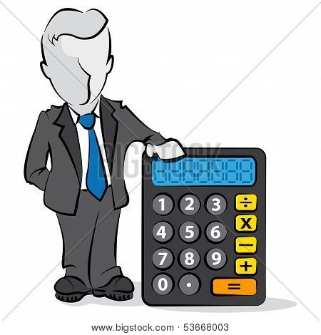 Businessman And Calculator