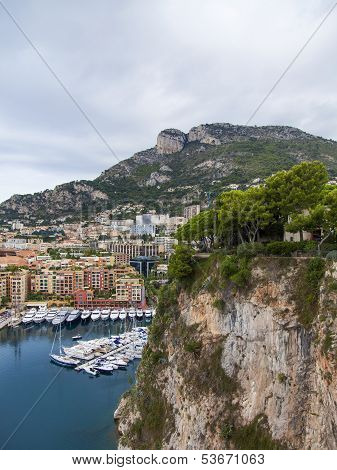 The Principality of Monaco, 13 October 2013 . View of the harbor and houses from a high point