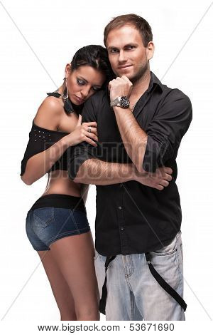 young couple on white background
