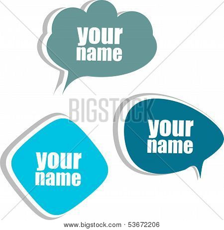 Your Name. Set Of Stickers, Labels, Tags. Business Banners
