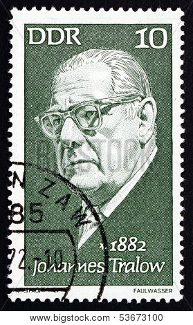 Postage Stamp Gdr 1972 Johannes Tralow, Playwright