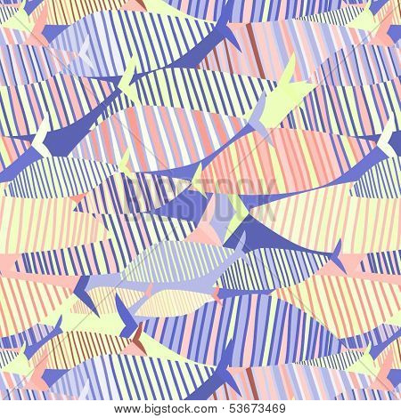 seamless background pattern with geometric fish