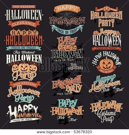 Halloween Calligraphic Designs VIntage Vector Set