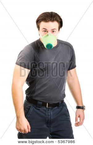 Strange Strong Man With Protective Mask