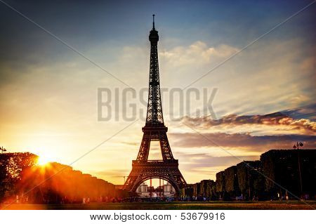 Eiffel Tower seen from Champ de Mars at sunset, Paris, France