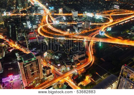 BANGKOK, THAILAND - NOV 5 : Top view of Baiyoke building which can see Expressways at twilight time on November 5, 2013, Baiyoke Building is highest building of Thailand, Thailand
