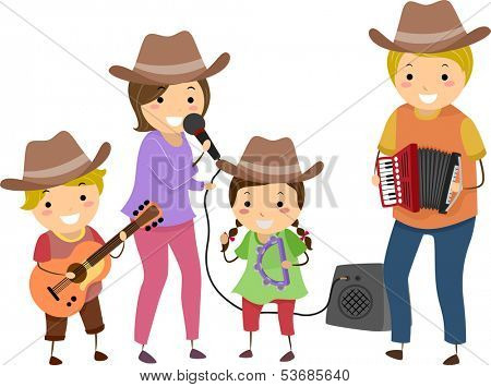 Illustration of a Family Performing as a Country Band