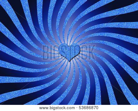 Blue Glitter Spiral with Heart in the Center