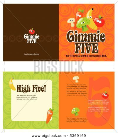70s style 5x10 brochure template Vector