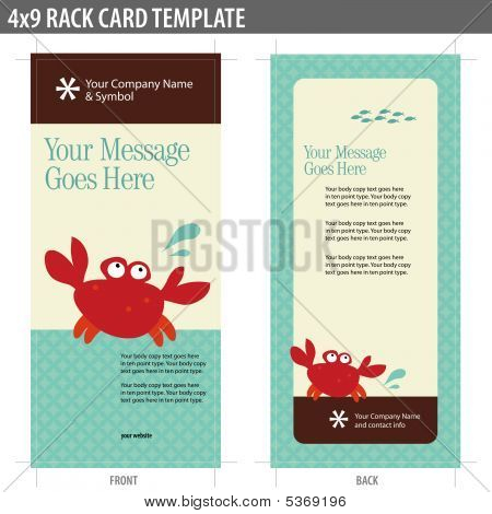 4x9 Rack Card Broshure Template Vector