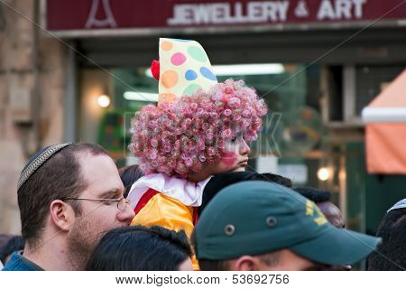 Jerusalem, Israel - 15 March 2006: Purim Carnival, People Watch The Show.