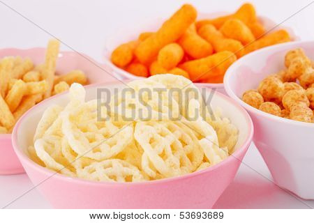 Potato, Corn And Wheat Chips In Bowls