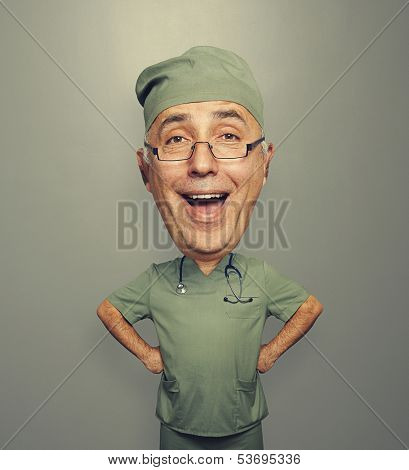 funny picture of bighead excited doctor in glasses over dark background