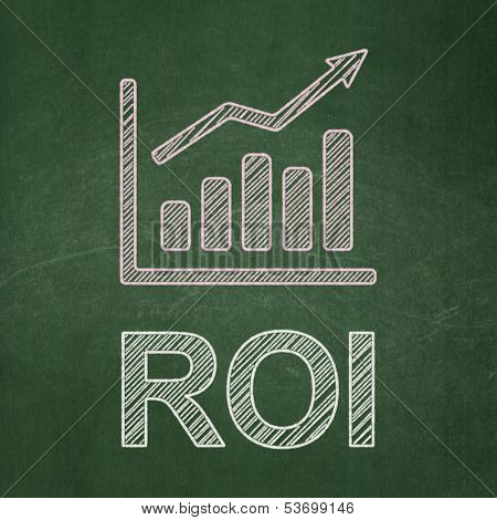 Finance concept: Growth Graph and ROI on chalkboard background