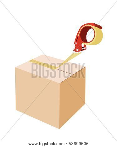 Closing A Cardboard Box With Adhesive Tape Dispenser