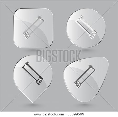 Hacksaw. Glass buttons. Vector illustration.