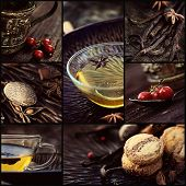 stock photo of spice  - Restaurant series. Collage of winter spiced tea. Cookies spices fruit and tea vanilla pods