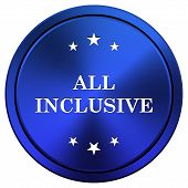 image of all-inclusive  - Metallic all inclusive icon with white design on blue background - JPG